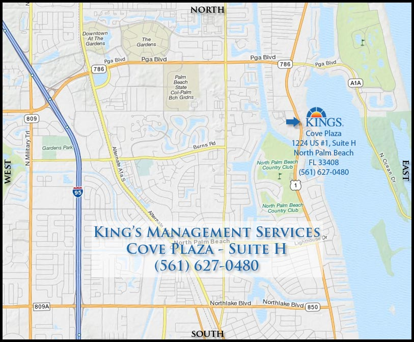 Kings Management Services Map to Cove Plaza, North Palm Beach, Florida